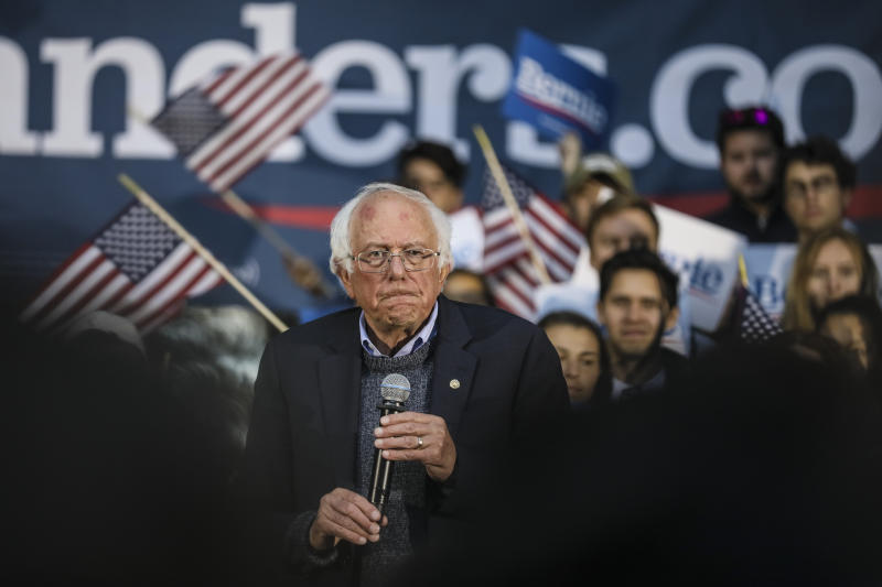 Democratic presidential candidate Sen. Bernie Sanders, I-Vt., pauses while speaking at a campaign event, Sunday, Sept. 29, 2019, at Dartmouth College in Hanover, N.H. (AP Photo/ Cheryl Senter)
