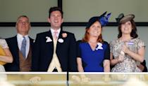 <p>Jack was quickly part of Eugenie's family, standing between her parents Prince Andrew and Fergie at the 2015 Royal Ascot.</p>