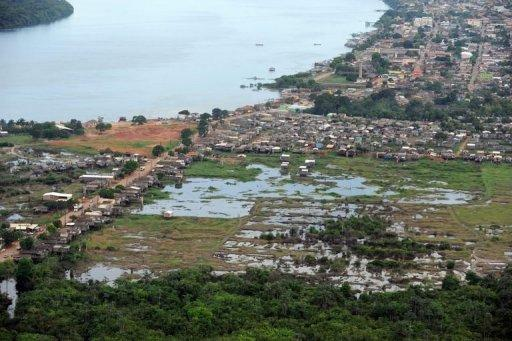 Aerial of an area in Altamira, Para state, Brazil, that will be flooded by the Belo Monte hydroelectric plant