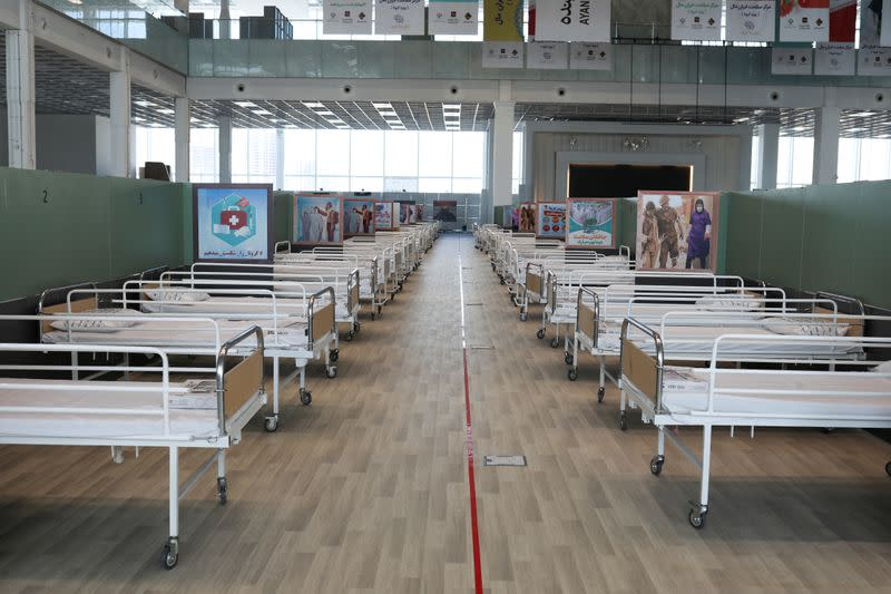 A view of beds at a shopping mall, one of Iran's largest, which has been turned into a centre to receive patients suffering from the coronavirus disease (COVID-19), in Tehran