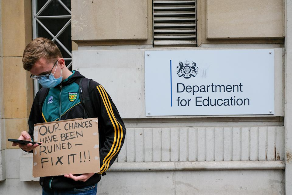 A protest outside the Department for Education earlier this week. (Getty)