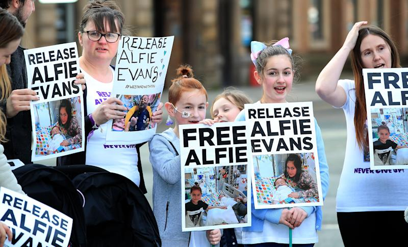 The family's supporters have called for Alfie to be allowed to be treated elsewhere (Picture: PA)