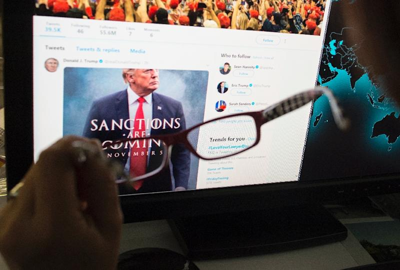 """""""SANCTIONS ARE COMING,"""" reads the mock movie poster US President Donald Trump tweeted, echoing the """"Game of Thrones"""" signature line: """"winter is coming"""" (AFP Photo/STF)"""