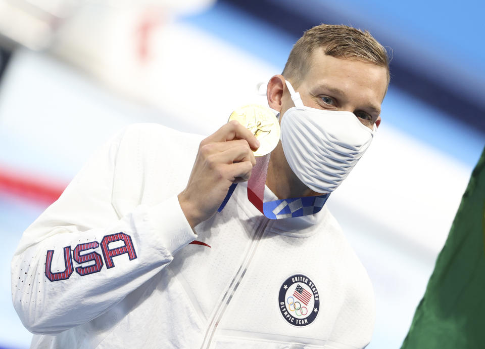 Caeleb Dressel's mindset is a big part of the reason joined an exclusive club as a male swimmer with five gold medals at one Olympics. (Photo by Jean Catuffe/Getty Images)