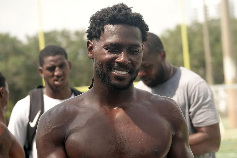 Former NFL star wide receiver Antonio Brown on May 27, 2020, at Holiday Park in Fort Lauderdale, Fla., working out with a group of college and NFL players. Brown will serve two years of probation as part of a plea deal relating to a January incident. (Joe Cavaretta/Sun Sentinel/Tribune News Service via Getty Images)