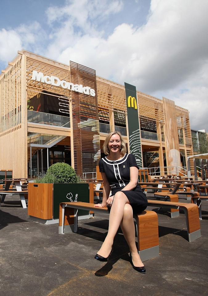 LONDON, ENGLAND - JUNE 25:  Jill McDonald, the Chief Executive Officer of McDonald's UK, poses for a photograph in front of the world's largest McDonald's restaurant which is their flagship outlet in the Olympic Park on June 25, 2012 in London, England. The restaurant, which is one of four McDonald's to be situated within the Olympic Park, will have a staff of 500. After the Olympic and Paralympic Games conclude the restaurant will be dismantled and all fixtures and fittings will be either reused or recycled.  (Photo by Oli Scarff/Getty Images)