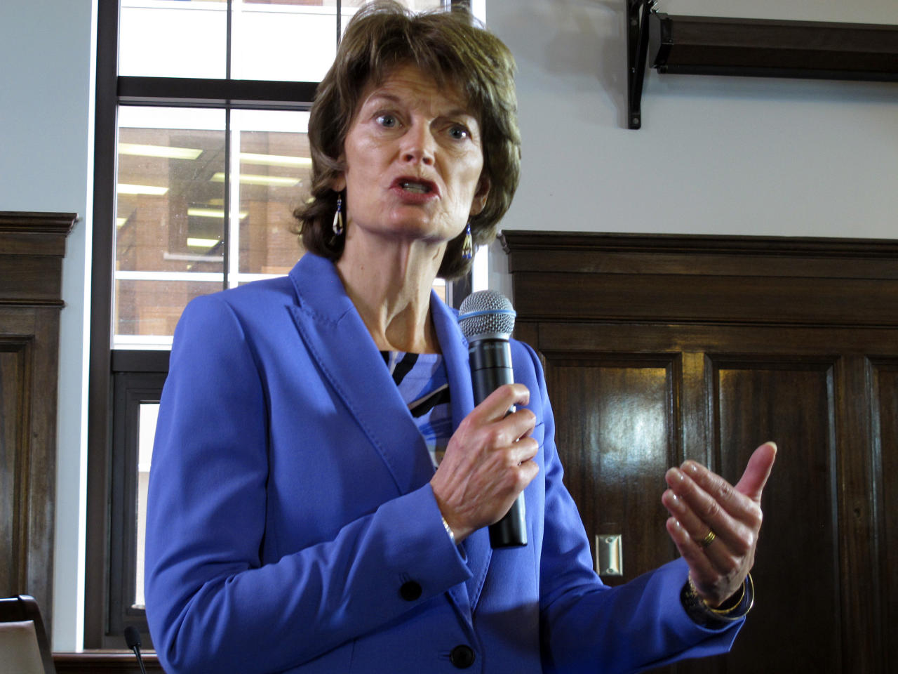 FILE - In this Feb. 22, 2017, file photo, Sen. Lisa Murkowski, R-Alaska, speaks during a news conference in Juneau, Alaska. For Majority Leader Mitch McConnell, writing a Republican-only health care bill that can pass the Senate boils down to this question: How do you solve a problem like Dean, Lisa, Patrick, Ted, Rand and Susan? (AP Photo/Becky Bohrer, File)