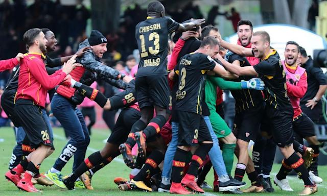 """<span class=""""element-image__caption"""">General delirium for Benevento's players against Milan.</span> <span class=""""element-image__credit"""">Photograph: Carlo Hermann/AFP/Getty Images</span>"""