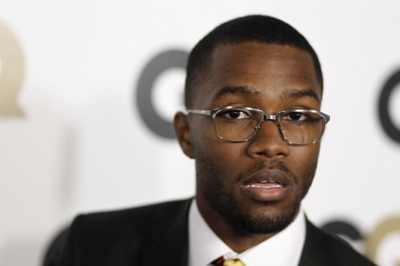"""FILE - This Nov. 17, 2011 file photo shows musician Frank Ocean at the 16th annual GQ """"Men of the Year"""" party in Los Angeles. The mtvU network is honoring Ocean, who detailed his love for another man, as its Man of the Year. Frank Ocean, who earned six Grammy nominations Wednesday, published a letter online about his first love, a man, just as his """"channel ORANGE"""" disc was being released. MtvU on Thursday, Dec. 6, 2012, called it """"an incredibly brave move for an artist on the verge of superstardom."""" (AP Photo/Matt Sayles, file)"""