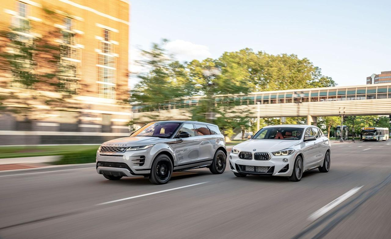 <p>2020 Range Rover Evoque P300 R-Dynamic HSE and 2019 BMW X2 M35i</p>
