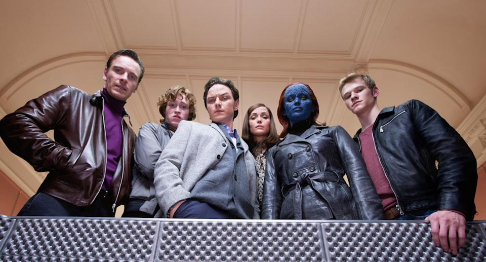 From left: Michael Fassbender, Caleb Landry Jones, James McAvoy, Rose Byrne, Jennifer Lawrence, and Lucas Till in 2011's <em>X-Men: First Class</em>. (Photo: Murray Close/20th Century Fox Film Corp./Courtesy Everett Collection)