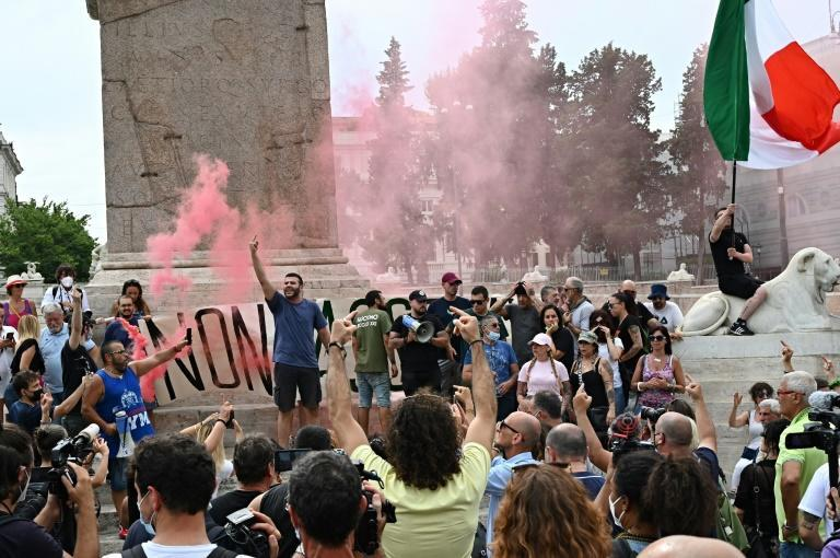 The introduction of the health pass sparked demonstrations in Rome (AFP/Andreas SOLARO)