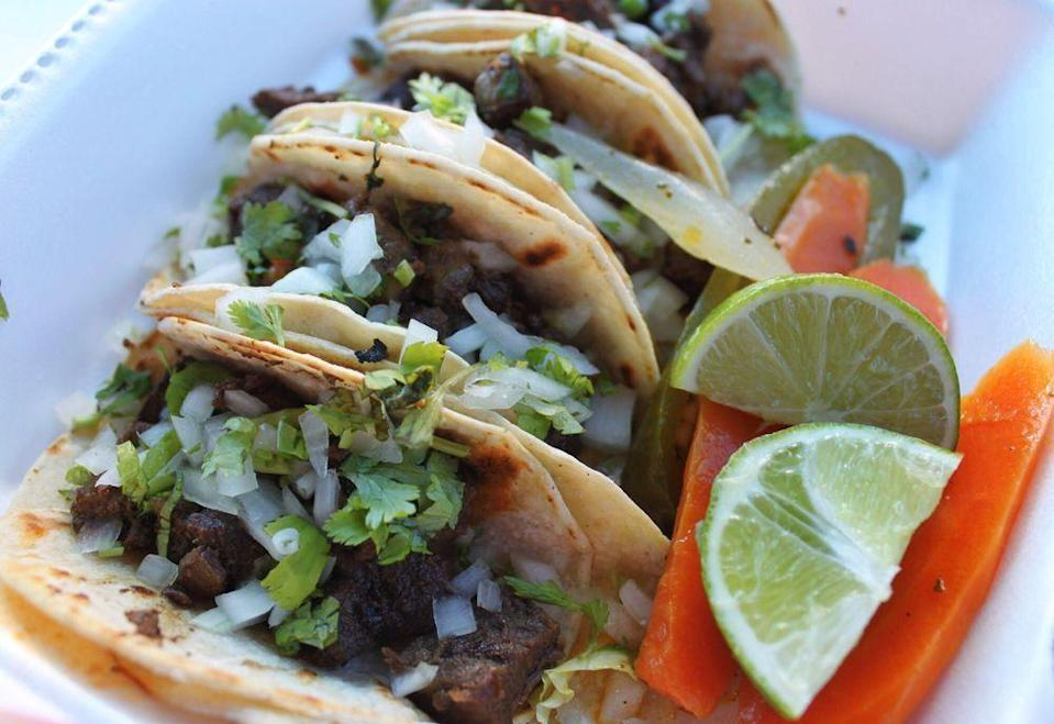 """<p><strong><a href=""""https://www.yelp.com/biz/taqueria-sanchez-oklahoma-city"""" rel=""""nofollow noopener"""" target=""""_blank"""" data-ylk=""""slk:Taqueria Sanchez"""" class=""""link rapid-noclick-resp"""">Taqueria Sanchez</a>, Oklahoma City</strong></p><p>""""Their carne asada street tacos - A very solid five stars. A solid GOLD five stars. I would say the best street tacos in town. They are absolutely perfect with a squeeze of fresh lime and their hot salsa."""" – Yelp user <a href=""""https://www.yelp.com/user_details?userid=nD2R62j9GiQlIdzuM1AxAA"""" rel=""""nofollow noopener"""" target=""""_blank"""" data-ylk=""""slk:Tabitha F."""" class=""""link rapid-noclick-resp"""">Tabitha F.</a></p><p>Photo: Yelp/<a href=""""https://www.yelp.com/user_details?userid=nD2R62j9GiQlIdzuM1AxAA"""" rel=""""nofollow noopener"""" target=""""_blank"""" data-ylk=""""slk:Tabitha F."""" class=""""link rapid-noclick-resp"""">Tabitha F.</a></p>"""