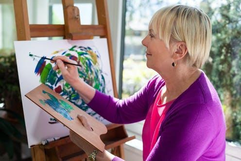 """<span class=""""caption"""">For some, having a hobby may even prevent depression.</span> <span class=""""attribution""""><a class=""""link rapid-noclick-resp"""" href=""""https://www.shutterstock.com/image-photo/happy-retired-woman-painting-on-canvas-103414199"""" rel=""""nofollow noopener"""" target=""""_blank"""" data-ylk=""""slk:Diego Cervo/ Shutterstock"""">Diego Cervo/ Shutterstock</a></span>"""