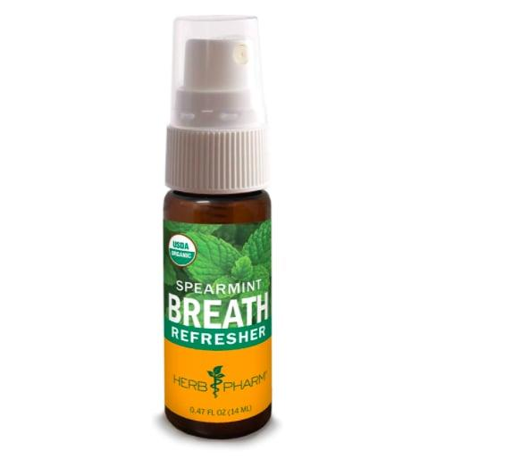 """<p>Say I'm on my way to an outdoor dining date - I can't commit to a whole piece of gum just to spit it out when I arrive. I rely on my <product href=""""https://www.amazon.com/Herb-Pharm-Refresher-Certified-Spearmint/dp/B005JW1G1Q/ref=sr_1_4?dchild=1&amp;keywords=breath+spray+all+natural&amp;qid=1602609826&amp;sr=8-4"""" target=""""_blank"""" class=""""ga-track"""" data-ga-category=""""internal click"""" data-ga-label=""""https://www.amazon.com/Herb-Pharm-Refresher-Certified-Spearmint/dp/B005JW1G1Q/ref=sr_1_4?dchild=1&amp;keywords=breath+spray+all+natural&amp;qid=1602609826&amp;sr=8-4"""" data-ga-action=""""body text link"""">Herb Pharm Certified Organic Breath Refresher</product> ($6) for a refreshing spritz, instead.</p>"""