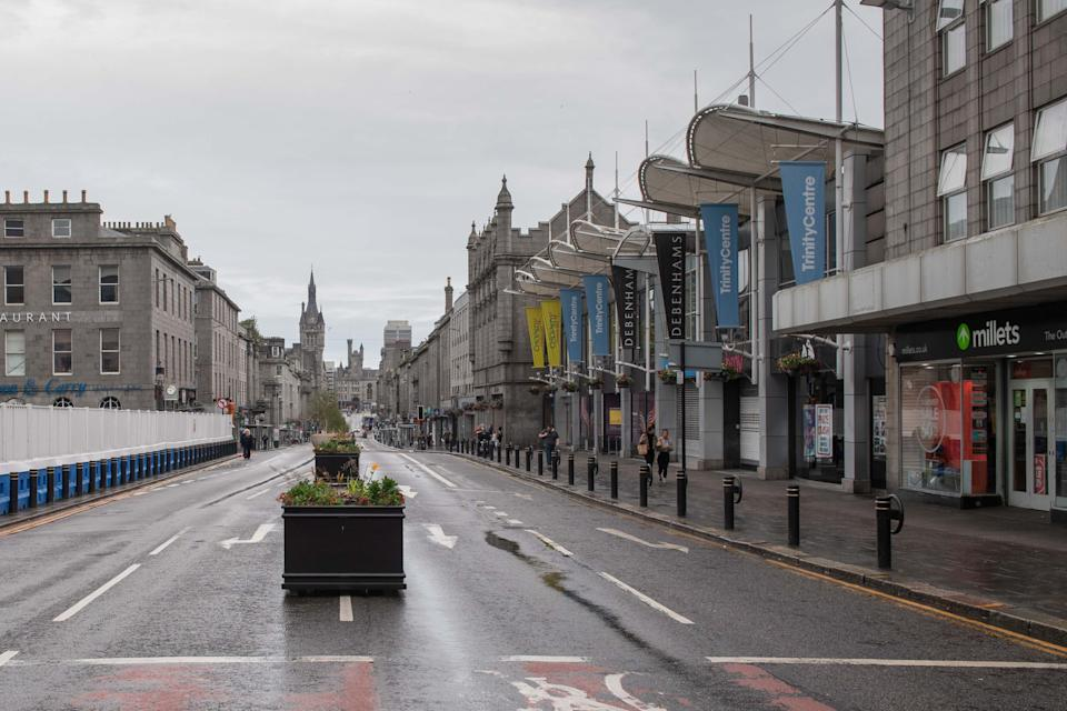 The streets are deserted in Aberdeen, eastern Scotland on August 5, 2020, following the announcement that a local lockdown has been imposed on the city after a spike in the number of cases of novel coronavirus COVID-19. - Scotland will reimpose lockdown restrictions in and around the city of Aberdeen after recording dozens of new coronavirus cases there this week, First Minister Nicola Sturgeon said today. (Photo by Michal Wachucik / POOL / AFP) (Photo by MICHAL WACHUCIK/POOL/AFP via Getty Images)