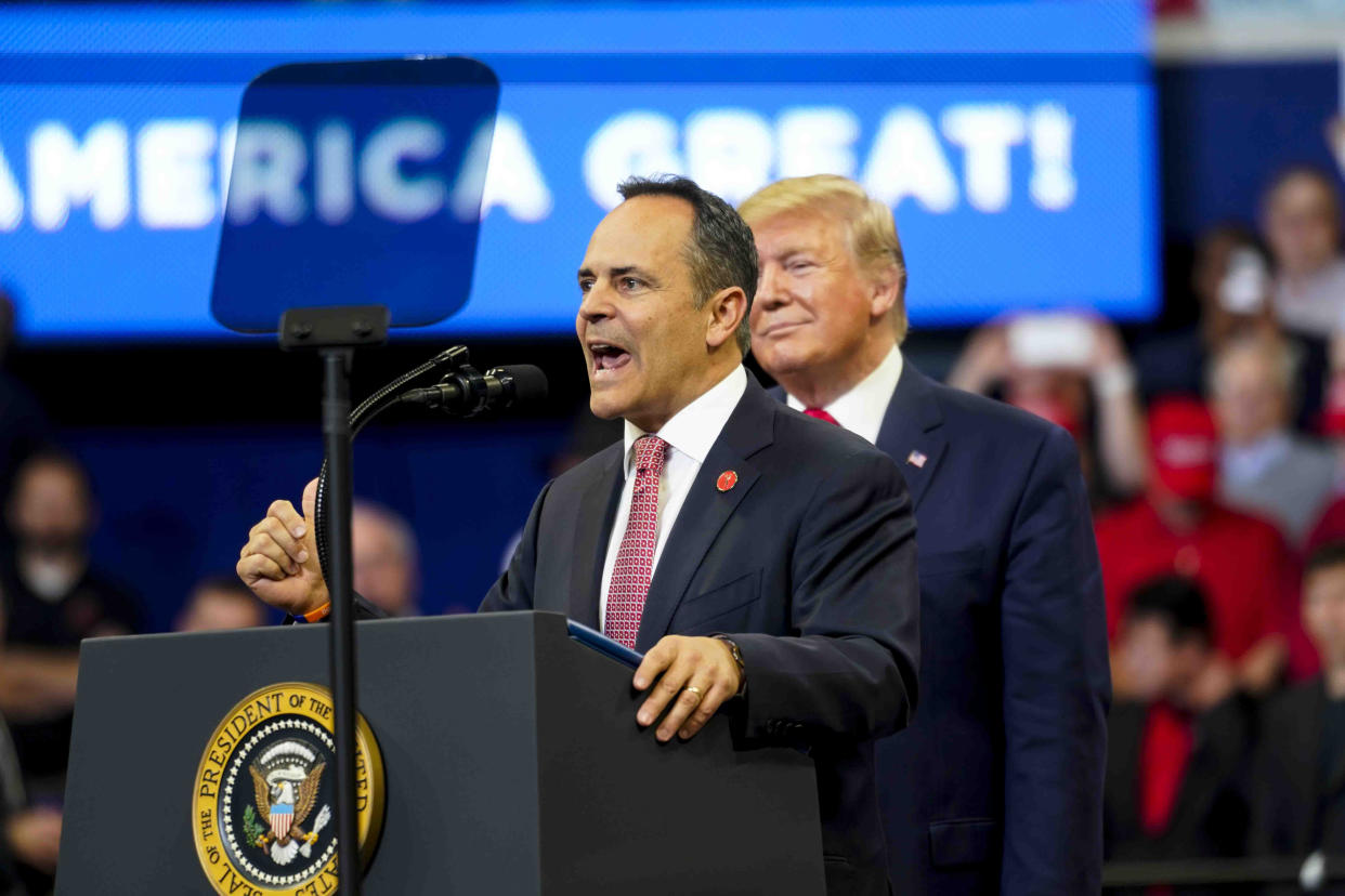 FILE -- Gov. Matt Bevin speaks at a rally the night before the election as President Donald Trump looks on, in Lexington, Ky., Nov. 4, 2019. (Doug Mills/The New York Times)