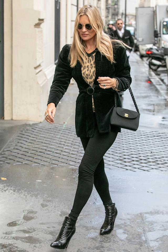 <p><strong>17 January </strong>Kate Moss was spotted at the Paris menswear shows in a green velvet blazer and skinny jeans.</p>