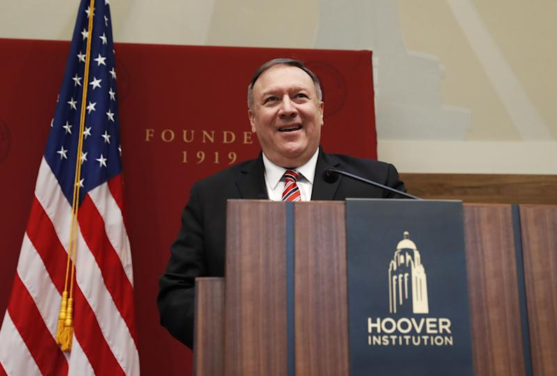 US Secretary of State Mike Pompeo speaks during an event hosted by the Hoover Institution at Stanford University in Stanford, California, on January 13, 2020. (Photo by JOHN G. MABANGLO / POOL / AFP) (Photo by JOHN G. MABANGLO/POOL/AFP via Getty Images)