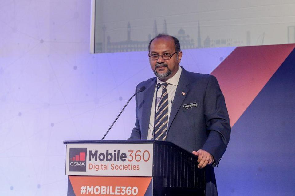 Communications and Multimedia Minister Gobind Singh Deo speaks during the launch of the GSMA Mobile 360 exhibition in Kuala Lumpur September 24, 2019. ― Picture by Firdaus Latif
