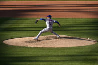 New York Mets starting pitcher Marcus Stroman throws during the fourth inning in the first game of a baseball doubleheader against the St. Louis Cardinals Wednesday, May 5, 2021, in St. Louis. (AP Photo/Jeff Roberson)