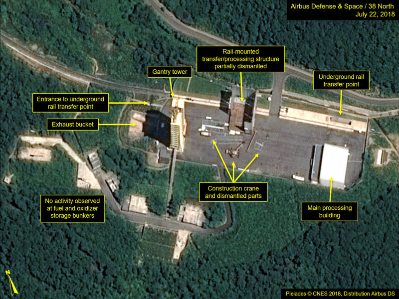 North Koreans dismantle ballistic missile test site