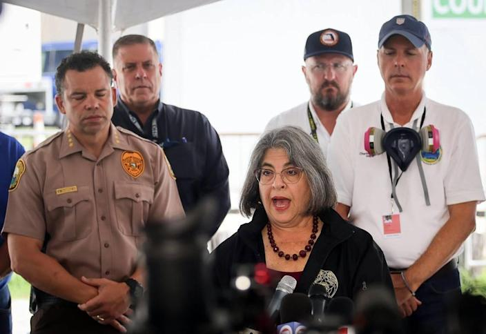 Mayor Daniella Levine Cava gives her remarks during the daily morning press conference outside the County's operational center. Miami-Dade and Surfside mayors updated the media on the overnight and daily operational details while announcing 90 people who have been confirmed dead due to the partial collapse of the Champlain Towers South in Surfside, Florida on Sunday, July 11, 2021.