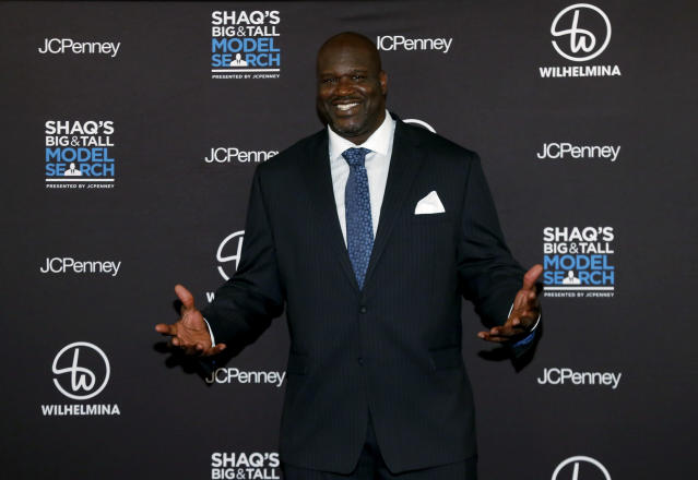 Shaq had a new look on Tuesday night, courtesy of Dwyane Wade. (Jason DeCrow/AP Images for JCPenney)