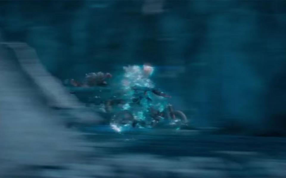 <p>When Kirk and Jaylah appear on the bike they are already travelling at speed. This is impossible, as they would have had to enter the transporter room at speed, not possible with the Franklin's transporter. Credit: Paramount </p>
