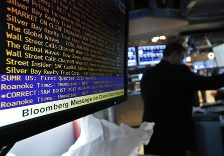 A Bloomberg terminal displays news as a trader works on the floor of the New York Stock Exchange May 13, 2013.