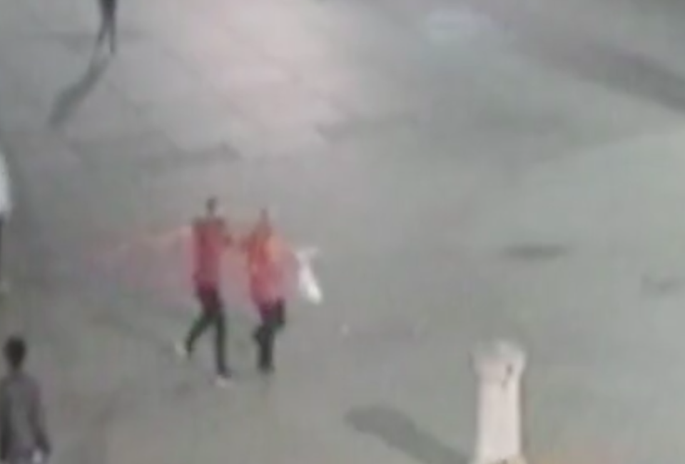 The attack was caught on CCTV (Picture: SWNS)