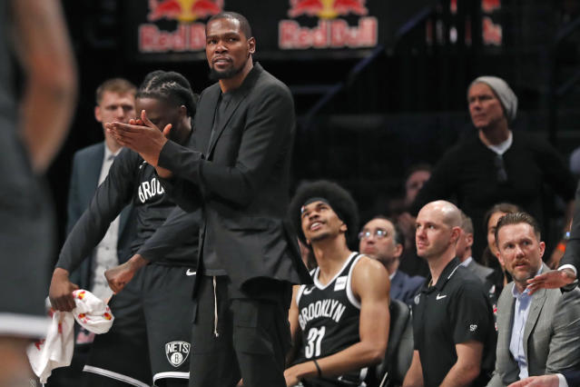Kevin Durant isn't expected to return for the Nets this season. (AP Photo/Kathy Willens)