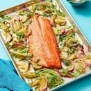 """<p>Olive oil and ground mustard come together for a quick lather on a gorgeous fish filet. </p><p><em><a href=""""https://www.womansday.com/food-recipes/food-drinks/a29464781/oven-roasted-salmon-with-charred-lemon-vinaigrette-recipe/"""" rel=""""nofollow noopener"""" target=""""_blank"""" data-ylk=""""slk:Get the recipe from Woman's Day »"""" class=""""link rapid-noclick-resp"""">Get the recipe from Woman's Day »</a></em></p>"""
