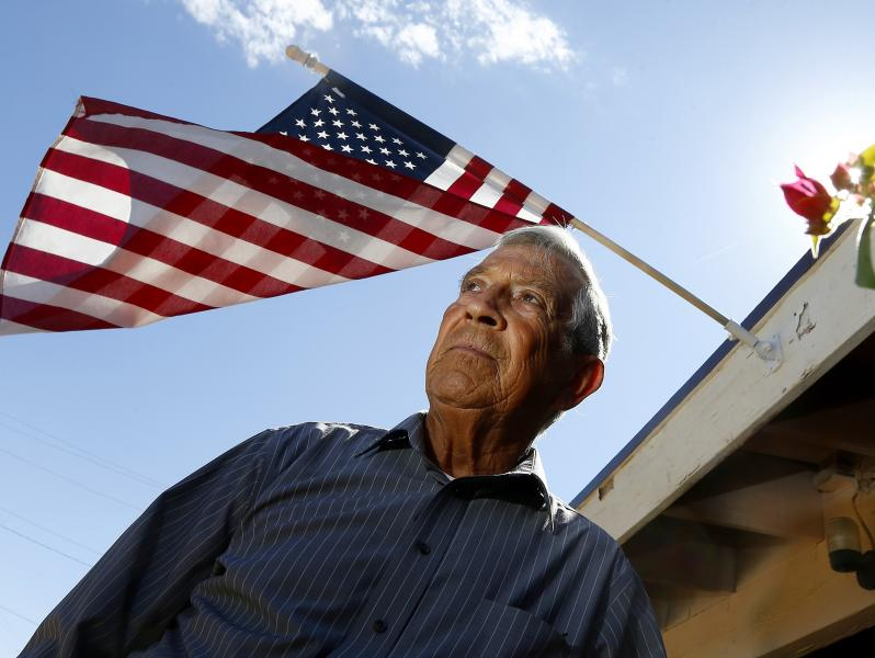 Daniel Magos is photographed at his home on Thursday, Sept. 14, 2017. Magos believes he was a victim of former Maricopa County Sheriff Joe Arpaio's immigration sweeps in 2009. Magos, a Mexican native who became a U.S. citizen 50 years ago, was a key witness in a 2012 civil rights trial in which Arpaio's officers were found to have racially profiled Latinos. (AP Photo/Ross D. Franklin)