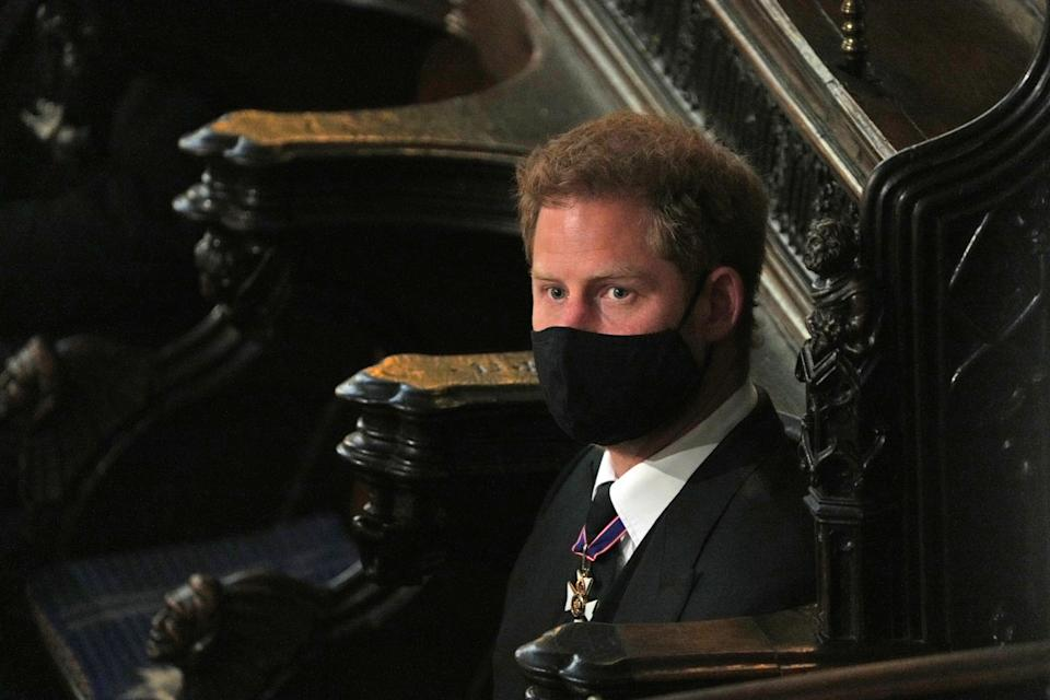 The Duke of Sussex during the funeral of the Duke of Edinburgh in St George's Chapel, Windsor Castle, Berkshire. Picture date: Saturday April 17, 2021.
