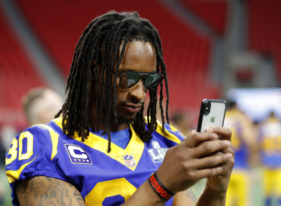 Former Los Angeles Rams running back Todd Gurley (30) wants money still owed to him by the team. (AP Photo/John Bazemore)