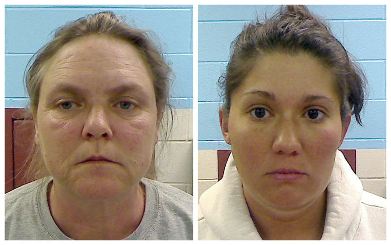 FILE -- This combo made from file photos provided by the Etowah County Sheriff's Department shows Joyce Hardin Garrard, 46, left, and Jessica Mae Hardin, 27. A judge refused bond Friday, Jan. 10, 2014 for Garrard, jailed for nearly two years while awaiting trial on charges she killed her granddaughter by making 9-year-old granddaughter Savannah Hardin run around their Etowah County home for about three hours for lying about eating a candy bar. The girl collapsed and died three days later. Garrard faces a capital murder charge. The girl's stepmother, Jessica Mae Hardin, who faces a charge of murder, is free on $150,000 bond.. Both women say they are innocent. (AP Photo/Etowah County Sheriff's Deptartment, File)