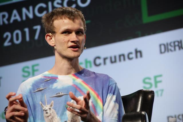 Vitalik Buterin at TechCrunch Disrupt in 2017 (TechCrunch)