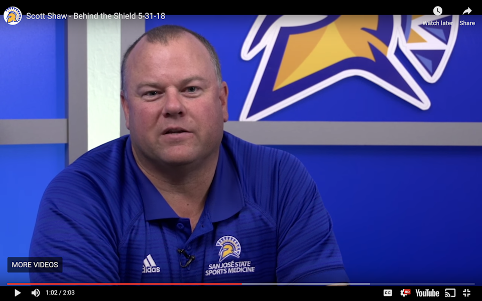 San Jose State University reinvestigated decade-old claims of sexual misconduct against its director of sports medicine, Scott Shaw, pictured here in an SJSU promotional video. Seventeen female swimmers alleged in 2009-10 Shaw inappropriately touched them during treatments.