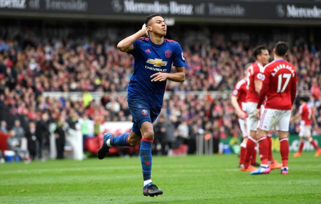 <p>Lingard celebrates after bagging United's second </p>