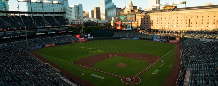 A view of Camden Yards during a game between the Orioles and Red Sox.