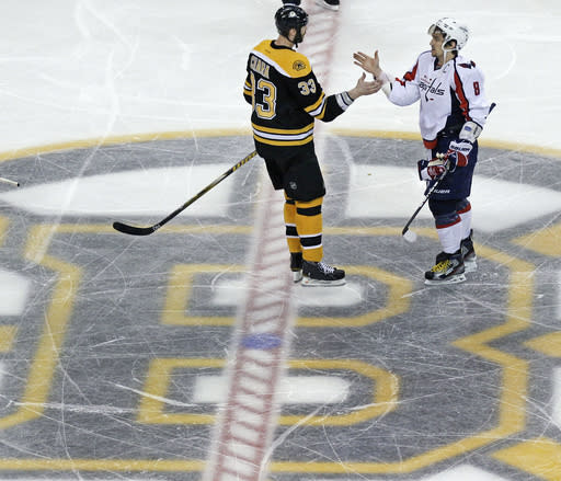 FILE - Boston Bruins defenseman Zdeno Chara (33) congratulates Washington Capitals left wing Alex Ovechkin (8) after the Capitals' 2-1 overtime win in Game 7 of an NHL hockey Stanley Cup first-round playoff series, in Boston, in this Wednesday, April 25, 2012, file photo. Alex Ovechkin goes into the final year of his contract with the Washington Capitals looking to win the Stanley Cup for the second time. Hell have 43-year-old past champion Zdeno Chara with him but not Henrik Lundqvist chasing his first title, after tests showed the veteran goaltender couldnt keep playing because of a heart condition. (AP Photo/Charles Krupa, File)