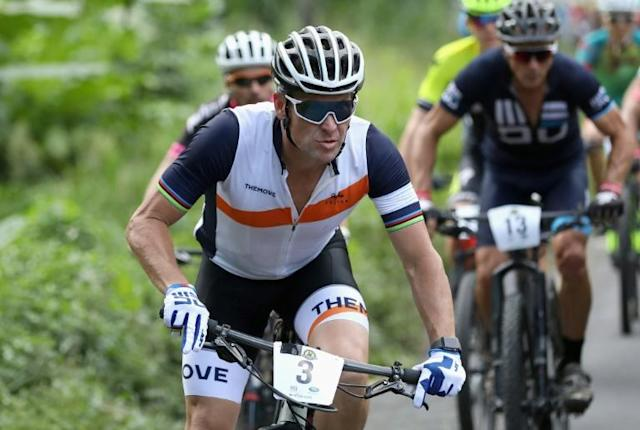 Lance Armstrong taking part in a three-day race in Costa Rica in 2018 (AFP Photo/EZRA SHAW)