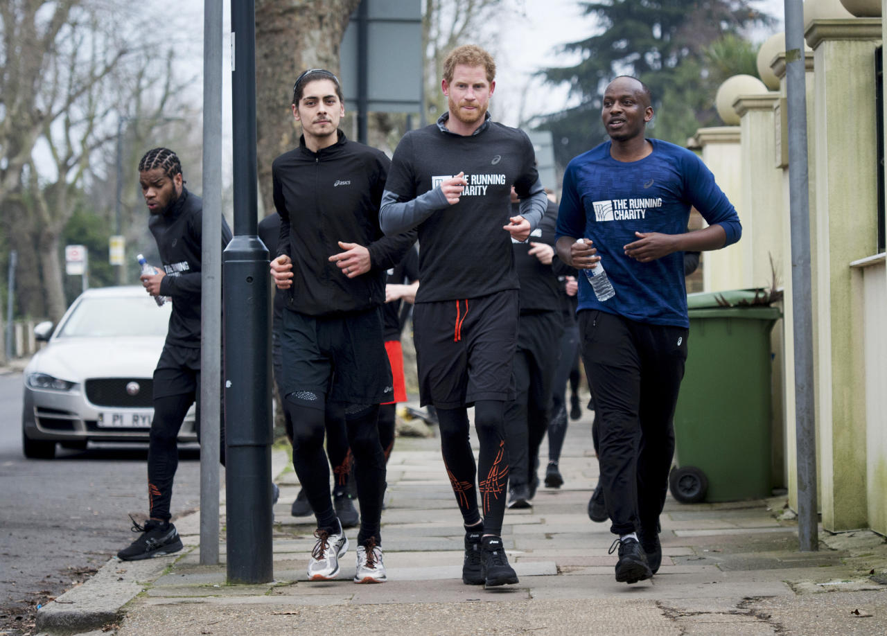 <p>Prince Harry runs with staff and users of The Running Charity, a program for homeless and vulnerable youth in Willesden, North West London, England.  </p>