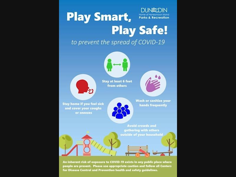 While the Dunedin public playgrounds including the outdoor Fit Zone at Weaver Park have reopened, the city is reminding users that an inherent risk of exposure to the coronavirus exists in any public place where people are present.