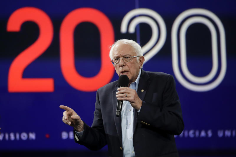 In this Nov. 16, 2019, photo Democratic presidential candidate Sen.Bernie Sanders, I-Vt., speaks during a presidential forum at the California Democratic Party's convention in Long Beach, Calif. (AP Photo/Chris Carlson)