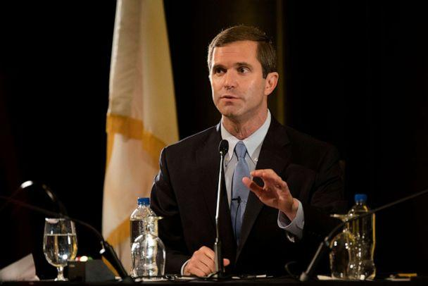 PHOTO: Democratic gubernatorial candidate Andy Beshear responds to a question during the final debate between Beshear and incumbent Republican Gov. Matt Bevin, Oct. 29, 2019, at Northern Kentucky University in Highland Heights, Ky. (The Enquirer via USA Today Network)