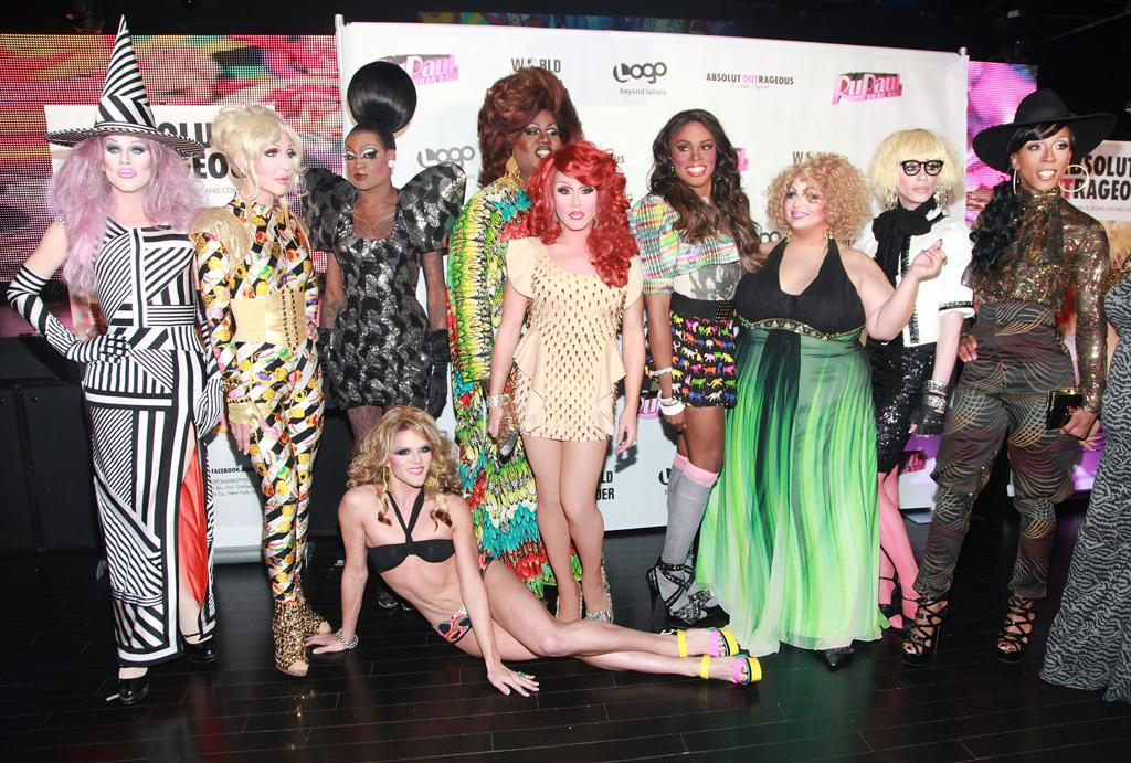 """Sharon Needles, Chad Michaels, Lashauwn Beyond, Willam Belli, Latrice Royale, Phi Phi O'Hara, Dida Ritz, Madame LaQueer, The Princess and Milan attend the """"<a target=""""_blank"""" href=""""http://tv.yahoo.com/rupaul-39-s-drag-race/show/44202"""">RuPaul's Drag Race</a>"""" Season 4 Finale Viewing Party at XL Nightclub on April 30, 2012 in New York City."""
