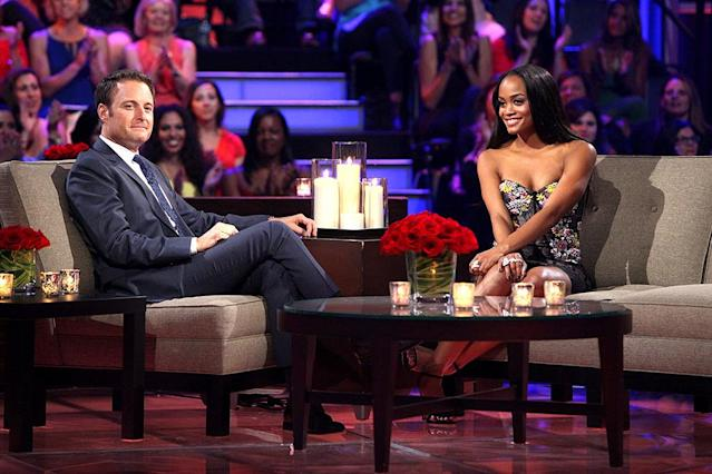 <p>Chris Harrison and Rachel Lindsay in ABC's <i>The Bachelorette</i>. <br>(Photo: Paul Hebert/ABC) </p>