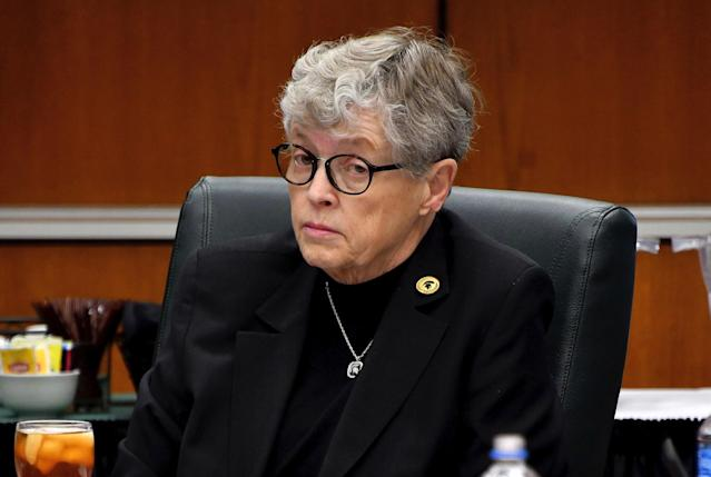 MSU president Lou Anna K. Simon is expected to resign in the wake of the Larry Nassar scandal. (AP)